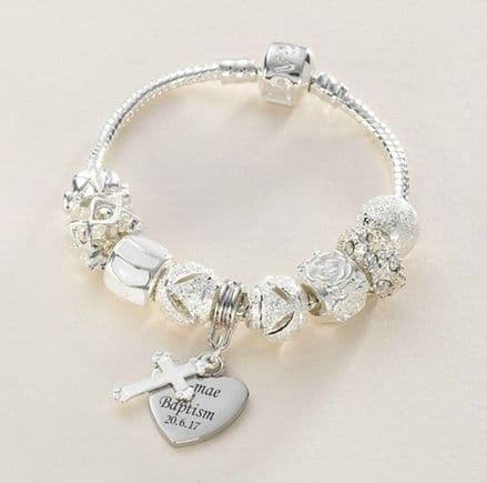 Charm Bead Bracelet in White with Engraved Charm