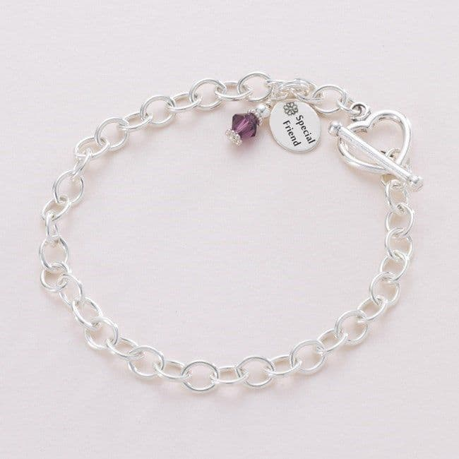 Charm Bracelet with Birthstone and message | Jewels 4 Girls