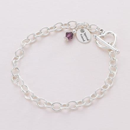 Charm Bracelet with Birthstone and message