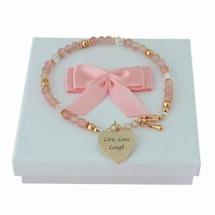 Cherry Quartz and Rose Gold Bracelet with Engraving