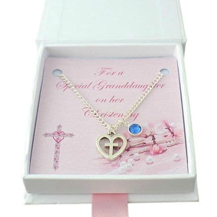 Christening Necklace for a Girl. Cross in Heart Pendant with Birthstone Crystal. Gift Boxed.