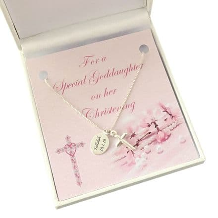 Christening Necklace for Girl, Personalised, Stg Silver