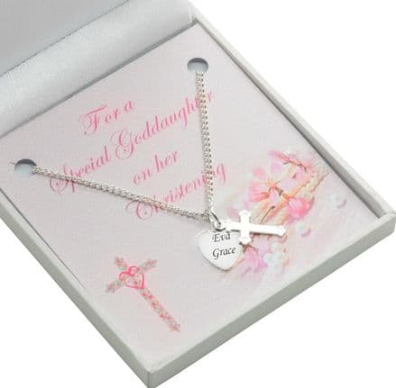 Christening Necklace for Girl, Personalised with Engraving