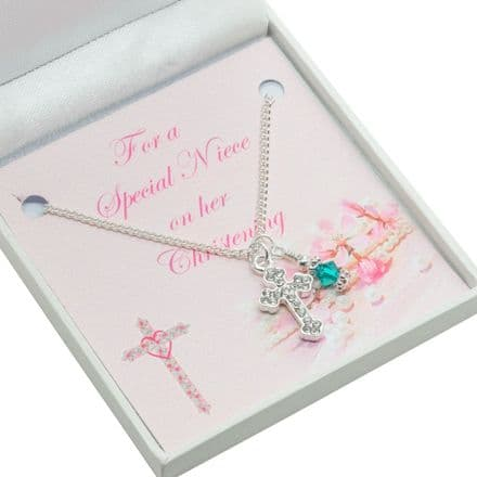 Christening Necklace with Cross, Birthstone & Card