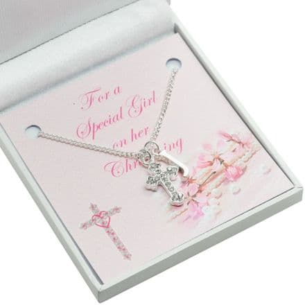 Christening Necklace with Cross, Letter Pendant & Card