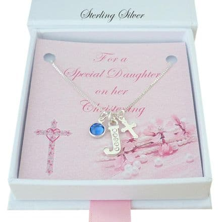Christening Necklace with Silver Cross, Letter and Birthstone