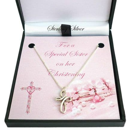 Christening Necklace with Wired Cross, Sterling Silver
