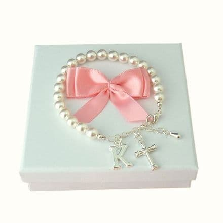 Christening or First Communion Bracelet with Letter Charm