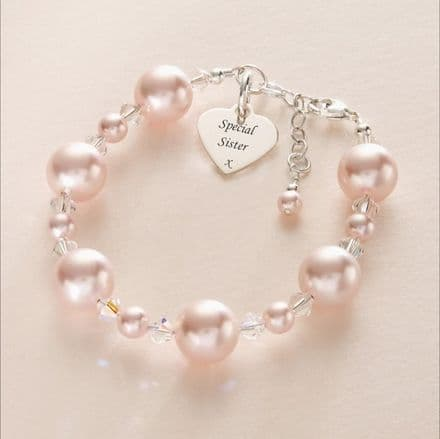 Chunky Pearl and Crystal Personalised Bracelet