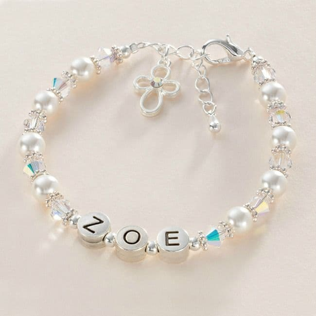 Communion Or Baptism Name Bracelet with Pearls & Crystals | Jewels 4 Girls