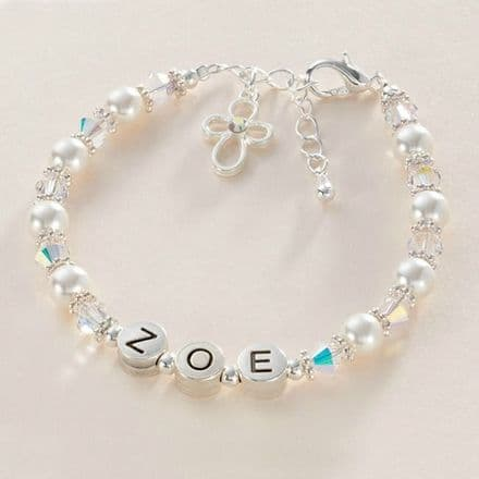 Communion Or Baptism Name Bracelet with Pearls & Crystals