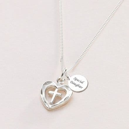 Cross in Heart Communion Necklace, Can be Personalised