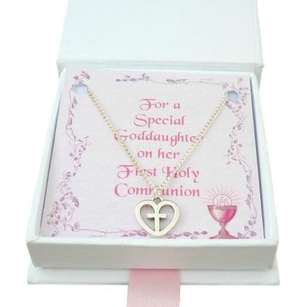 Cross in Heart Necklace for Girls First Holy Communion
