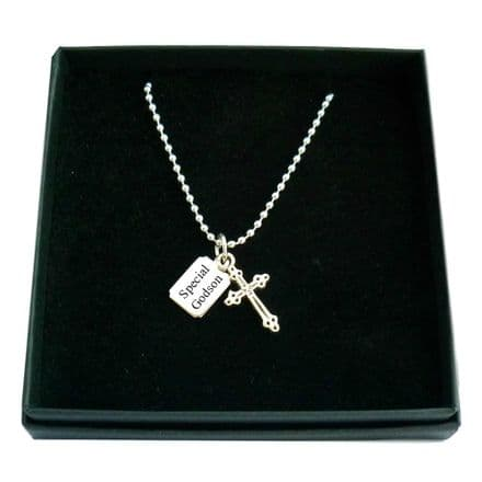 Cross Necklace for a Boy with Engraving