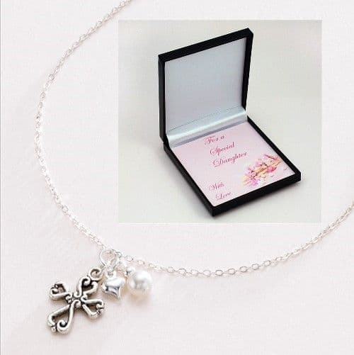 Cross of Hearts, Pearl & Puffed Heart Necklace | Jewels 4 Girls