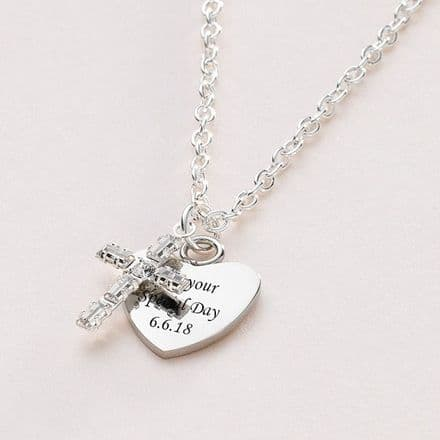 Crystal Cross Engraved Personalised Necklace