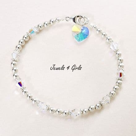 Crystal Heart Bracelet for Bride or Bridesmaid, Many Colours