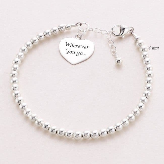 Dainty Beaded Sterling Silver Personalised Bracelet with Engraving | Jewels 4 Girls