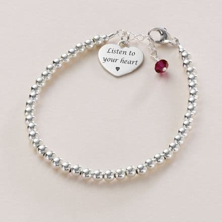 Dainty Silver Bead Bracelet with Birthstone & Engraving