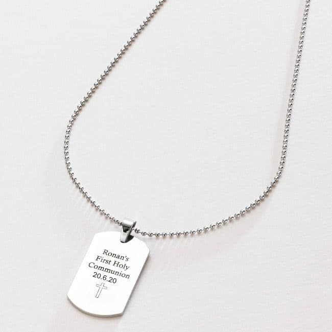 Dogtag Necklace Engraved for Boys Communion | Jewels 4 Girls