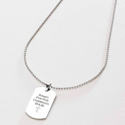 Dogtag Necklace Engraved for Boys Communion
