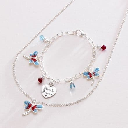 Dragonfly Jewellery Set with Engraved Heart Charm