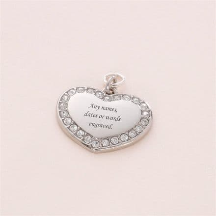 Engravable heart with Crystals on Split Ring 23 x 18mm