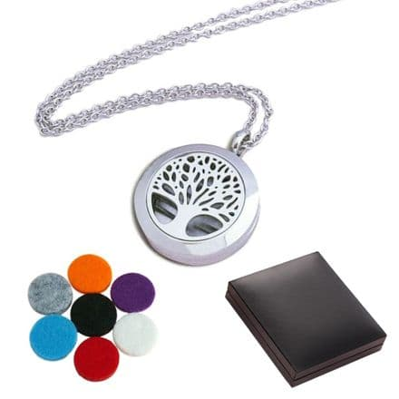 Engraved  Aromatherapy Tree of Life Locket Necklace, 13th,18th, 21st, 30th, 40th, 50th,60th Birthday