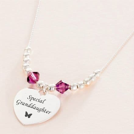 Engraved Birthstone Necklace with Silver Beads