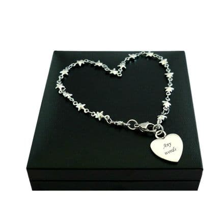 Engraved Bracelet with Star Link Chain for Women & Girls