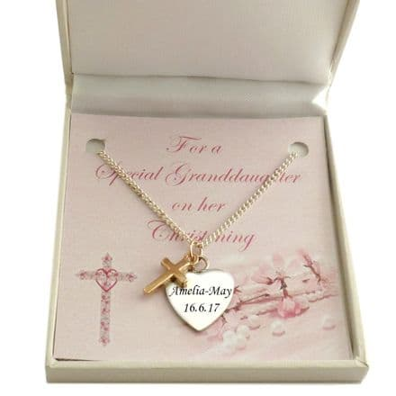 Engraved Christening Necklace with Rose Gold Cross