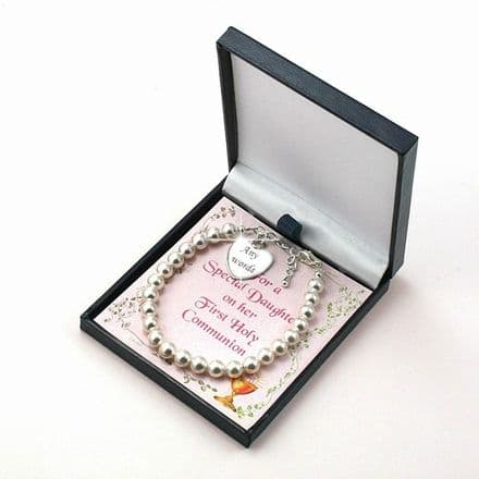 Engraved Communion Bracelet with Card Choice
