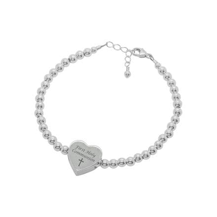 Engraved Communion Bracelet with Silver Heart Bead