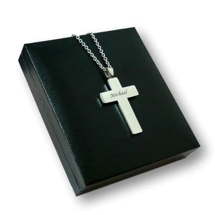 Engraved Cross Necklace, Steel