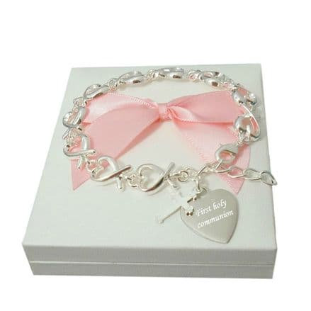 Engraved First Communion Hearts  Bracelet for a Girl
