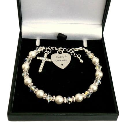 Engraved First Holy Communion Bracelet with Sparkly Cross