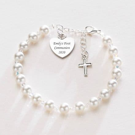 Engraved First Holy Communion Bracelet with Tibetan Cross