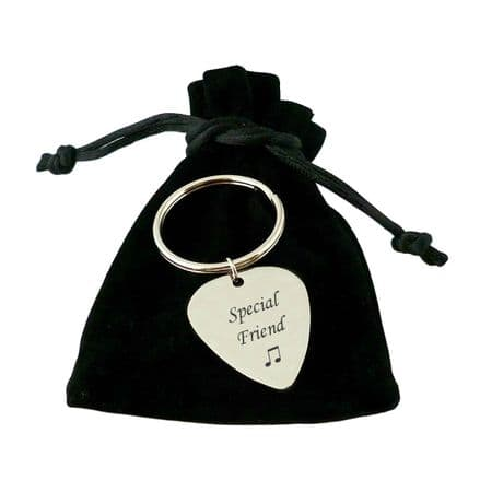 Engraved Guitar Plectrum Keyring