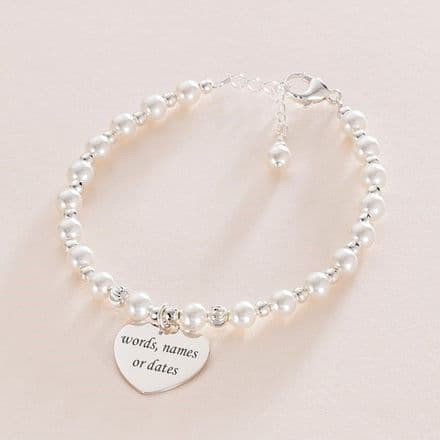 Engraved Heart Bracelet for Bride with Silver & Pearls