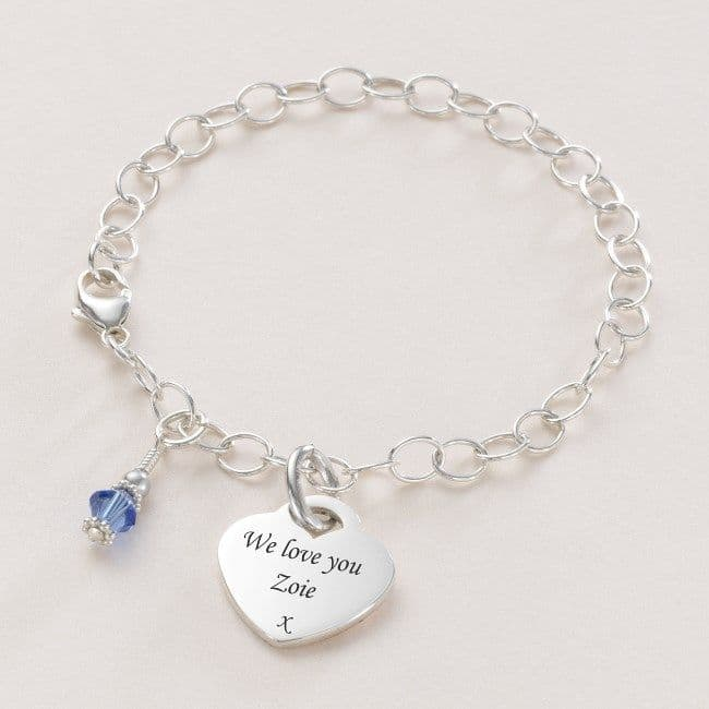 Engraved Heart Charm Personalised Bracelet with Birthstone | Jewels 4 Girls
