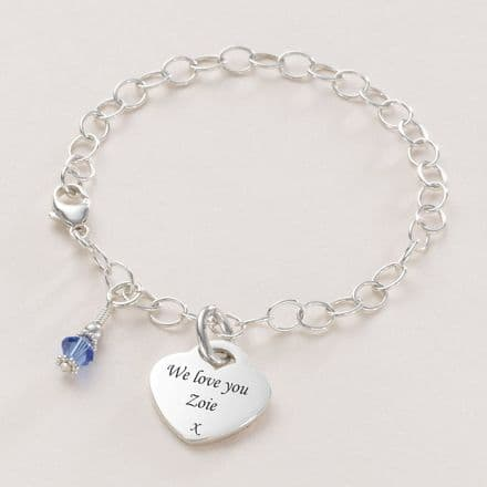 Engraved Heart Charm, Personalised Bracelet with Birthstone