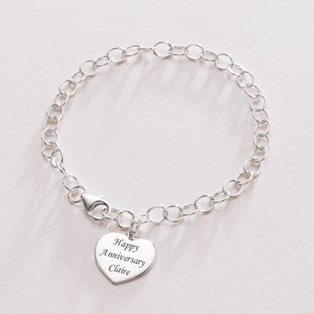 Engraved Heart Charm Personalised Chain Bracelet