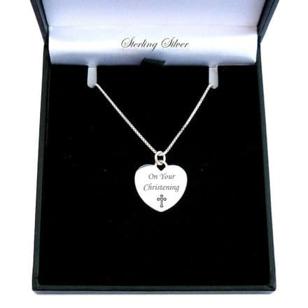Engraved Heart Necklace, Personalised Gift for a Girl's Christening.