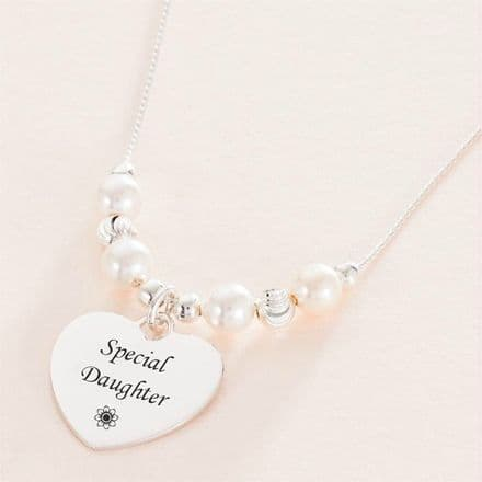 Engraved Heart Necklace with Silver & Pearls