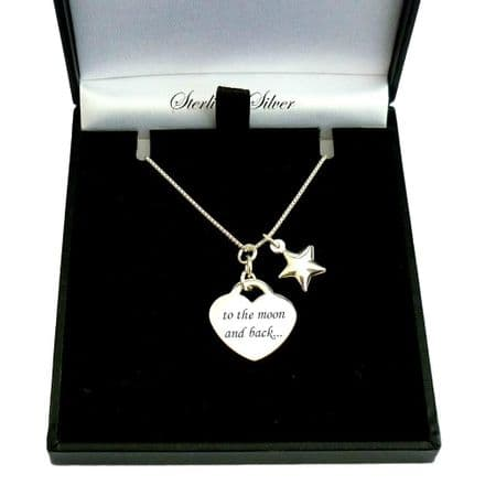 Engraved Heart Necklace with Star, Sterling Silver