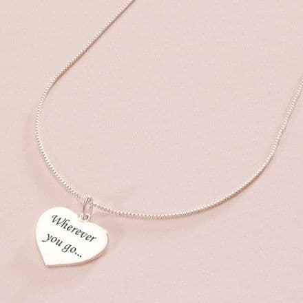 Engraved Heart Personalised Necklace in Silver.