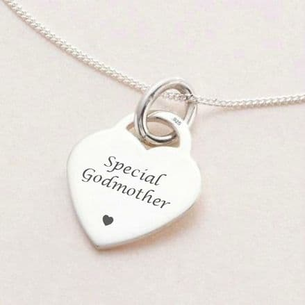 Engraved Heart Personalised Necklace - Sterling Silver