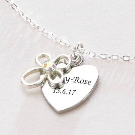 Engraved Heart with Open Cross Christening Day Necklace