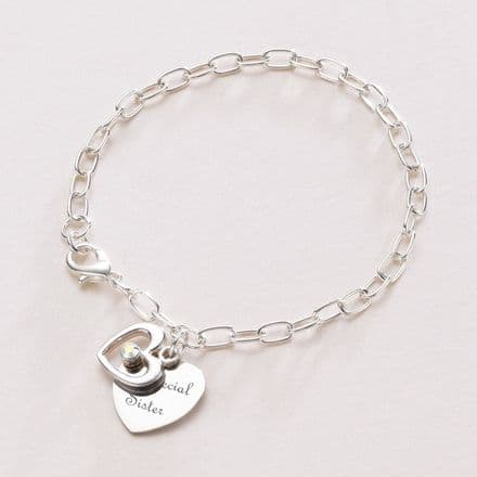 Engraved Heart with Open Heart Personalised Bracelet