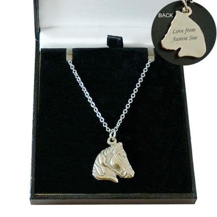 Engraved Horse Necklace, Gift Boxed